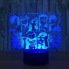 3D One Piece Strawhat Pirates Luffy Night Light LED Table Desk Lamp Art Lantern