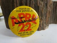 March on New York & L.A. April 22 Out of S.E. Asia Now NPAC Anti-War Pin KCA5