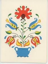 VINTAGE PENNSYLVANIA DUTCH TULIP FLOWER MOTIF DESIGN NOTE CARD MINIATURE PRINT