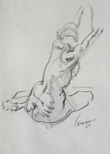 Harry Carmean drawing of female model seated, facing back 1980