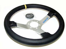 Sparco Steering Wheel - L550 Monza (350mm/63mm Dish/Leather/Silver)