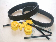 LEGO 2 Black Caterpillar Rubber Track + 4 Technic Sprocket Drive Wheel Axles 4L