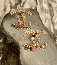 CHANEL Confetti Pearl Earrings 19S XL CC Stud Multicolor Pink Gold Coin 2019 NEW