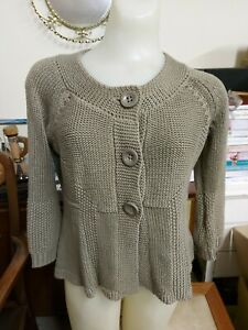 Mocha Brown 3/4 Sleeve Cardigan by Marks & Spencer, Size 12