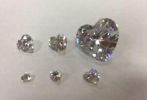 Cubic Zirconia Loose Stone HEART shape crystal gem clear  x1 x10 3-14mm PREMIUM