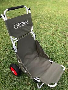 khaki beach mate trolley carry all cart and a seat beach,outdoor red hub wheels