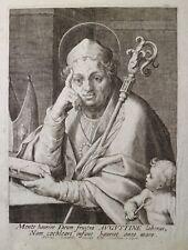 ETCHING ACQUAFORTE BULINO Egidio SADELER S.AGOSTINO VESCOVO  1500 reliqua relic