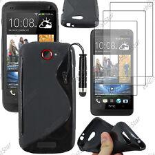 Housse Etui Coque Silicone S-line Noir HTC One S + Mini Stylet + 3 Film écran