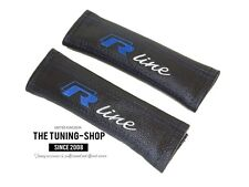 "2x Seat Belt Covers Pads Black Leather ""R-line"" Blue Embroidery For Volkswagen"