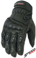 MENS PERFORATED CARBON KNUCKLE VENTED SUMMER MOTORBIKE MOTORCYCLE LEATHER GLOVES