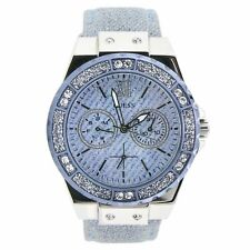 Guess Ladies Limelight Blue Dial & Glitter Fabric Womens Watch Strap W0775L1