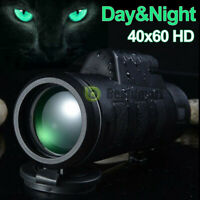 40X60 Day Night Optical Monocular BAK-4 High Power Hunting Camping Telescope New