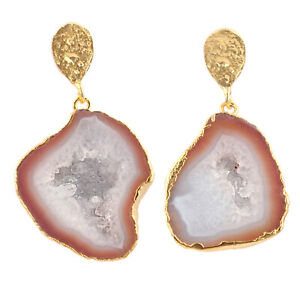 Crystal Milky Red Geode Druzy Yellow Gold Plated Drop Dangle Earring Pairs