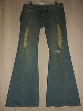 TRUE RELIGION USA NWT 32 Joey Gold Rush Distressed Denim Low rise Flare Jeans