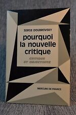 pourquoi la nouvelle critique Serge Doubrovsky Mercure de France 1966 paperback