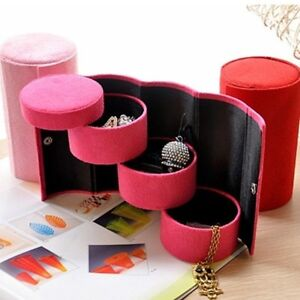 Portable Jewellery Organiser Roll up Tube RED or ROSE PINK