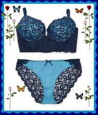 36B Blue Lace Longline PushUp UW Bra Bikini Pantie 2pc SET New York Elegance $52
