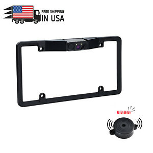 Car License Plate Frame Parking Sensor Radar Reverse Night Vision Backup Camera