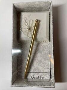 NIP White Lace Satin Romantic Wedding Guest Gold Pen Set