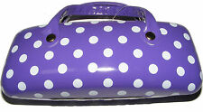 PURPLE POLKA DOT HARD GLASSES / SPECTACLE PROTECTIVE CASE - NEW