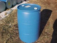 55 gallon Barrel Drum Plastic Water RAIN BLUE Barrels drum drums container