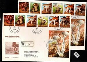 # CENTRAL AFRICAN REP 1984 - 2 R-FDC - PERF+IMPERF - MUSHROOMS