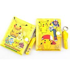 Anime Pokemon Pikachu Kids School Supplies Stationery Notebook+Ballpoint Pen Set