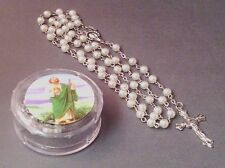 Rosary WHITE FAUX PEARL Bead w/Keepsake Case Necklace ST JUDE Image