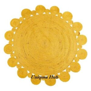 Rug 100% Natural Jute Braided Style Rug Reversible Rustic Living Room Area Rug