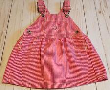 Oshkosh B'Gosh Pink & White Denim Bib Jumper Dress Girl 24 Months Vintage Style