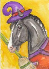 ACEO original Watercolor Art Card Horse FUN Hallowe'en PONY witch hat & Broom