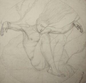 Kathleen Pearson (1898-1961) drawing male figure underwater, mythology, fantasy