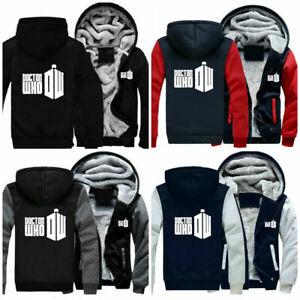 Doctor Who Unisex Hoodie Winter Thicken Jacket Print Zipper Sweatshirts Outwear