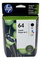NEW Original HP 64 Black/Tri-Color 2-pack Ink Jets