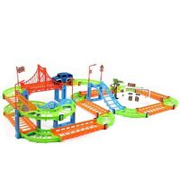 Two-layer Spiral Tracks Magic Race Glow Set Car Racing Flexible Gas Station Park