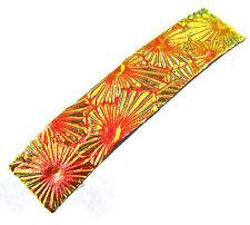 "Dichroic Hair Barrette 2.5"" 65mm Orange Gold Floral Burst Patterned Fused GLASS"