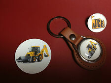 JCB, LEATHER KEY RING, SILVER PLATED BADGE & FREE JCB PHONE STICKER
