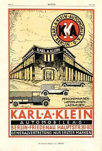 Automobile Karl A. Klein Berlin Friedenau XL Reklame 1925 Werbung von Dangl KAK