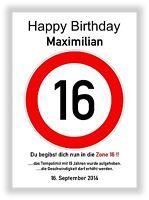 Verkehrszeichen Bild 16 Geburtstag Deko Geschenk persönliches Verkehrsschild NEU