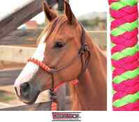 Classic Equine Rope Halter Fuchsia Pink Lime Horse Tack