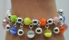 NEW  MULTI CAT EYE/ SILVER ROUND BEAD VERY CUTE  FASHION STRETCH CHARMS BRACELET