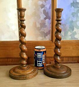 VINTAGE Pair of Oak Barley Twist Candlesticks. VGC. Well Made