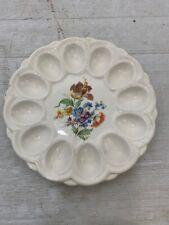 Vintage Deviled Egg Plate Floral E&R American Art Ware