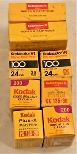 LOT OF 8 KODAK X -Kodak Plus X-B&W -Kodak 200 -35mm + Super 8 Movie Film EXP.