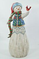 "Jim Shore Folklore Snowman With Cardinal 10 1/2"" Tall #6001445"