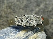 Princess Cut Diamond 3 Stone Ring 14k White Gold size 8.5