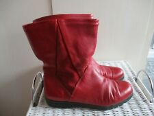 BRIGHT RED LEATHER CALF LENGTH WINTER BOOTS 4