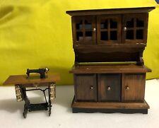 Dollhouse Miniature Wood Hutch & Sewing Machine