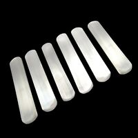 "XL Selenite Crystal ""Charging"" Plate LOT of 6 Polished Bars Wand Flat Round Logs"
