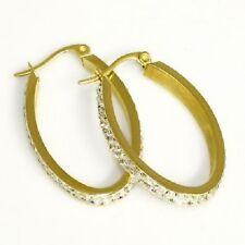 Titan Titanium Ohrhänger Creolen Ohrringe vergoldet Gold oval Zirkonia Damen I